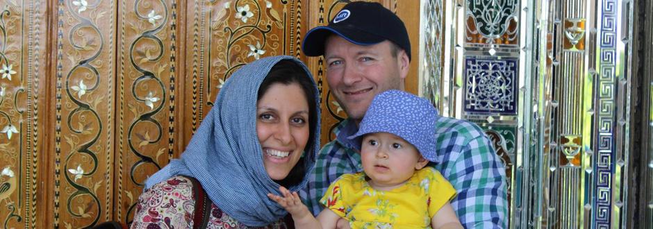 Nazanin met haar echtgenoot en dochtertje Gabriella