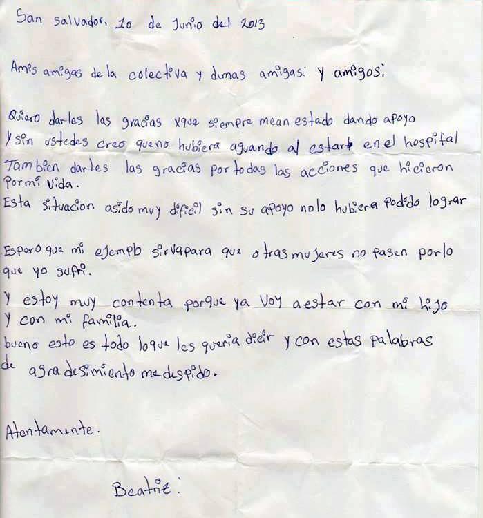 Brief van Beatriz