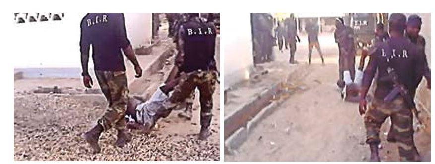 Stills uit een video waarin een man wordt weggevoerd door BIRagenten