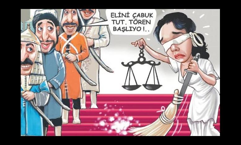 Cartoon van Cumhuriyet karikaturist Musa Kart,  vrijgelaten maar aanklacht is nog hangende © Musa Kart