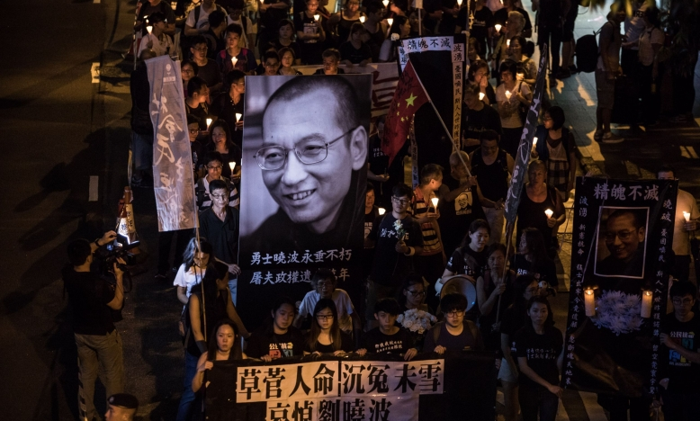 Hong Kong mars voor Liu Xiaobo