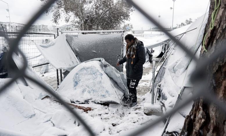 opvangkamp op Lesbos, 7 januari 2017 Foto: STR/AFP/Getty Images