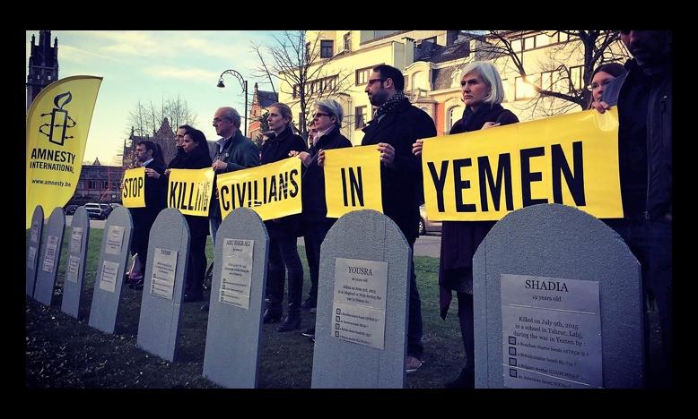Protest tegen burgerslachtoffers in Jemen