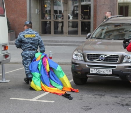 Moscow police arrested some 40 people at a Moscow Pride on 27 May 2012