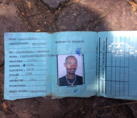 Identity Card of a young person near where he was killed in Bujumbura.