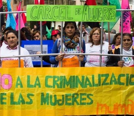 Demonstratie tegen de vervolging van Belén uit Argentinië