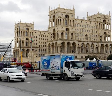Formule 1 circuit in Baku in opbouw - Foto: AFP/Getty Images