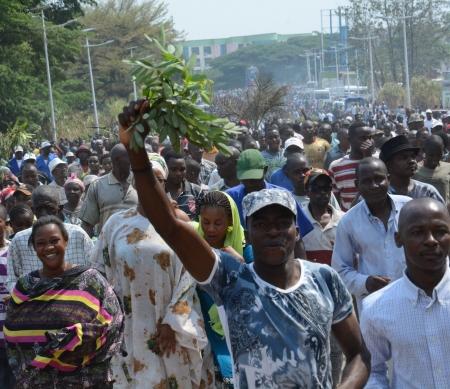 demonstratie voor de VN kantoren in Bujumbura, september 2016 ©  TONY KARUMBA/AFP/Getty Images