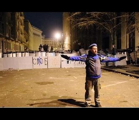 Demonstrant op het Maydanplein © Aleksandr Piliugun
