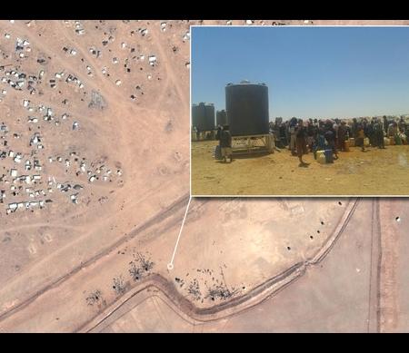 Satellietbeelden grens tussen Syrië en Jordanië