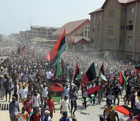 Ten minste 150 pro-Biafra betogers gedood tijdens ongekend bruut politieoptreden- AFP/Getty Images