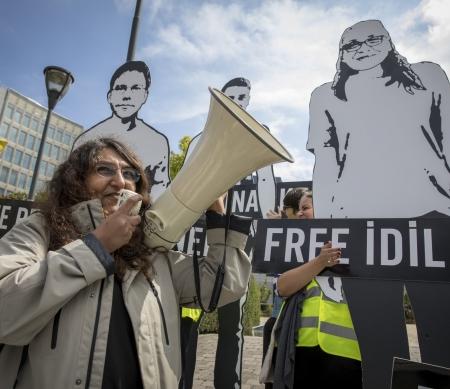 Actie in Brussel voor de vrijlating van mensenrechtenverdedigers in Turkije