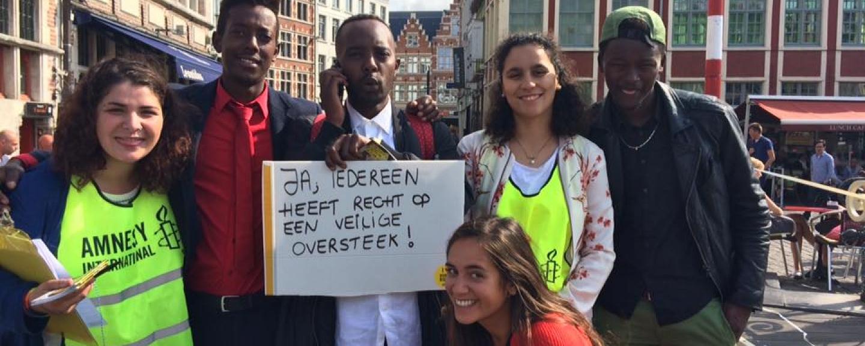 Amnestyjongeren voeren actie in Gent voor veilige en legale routes voor vluchtelingen