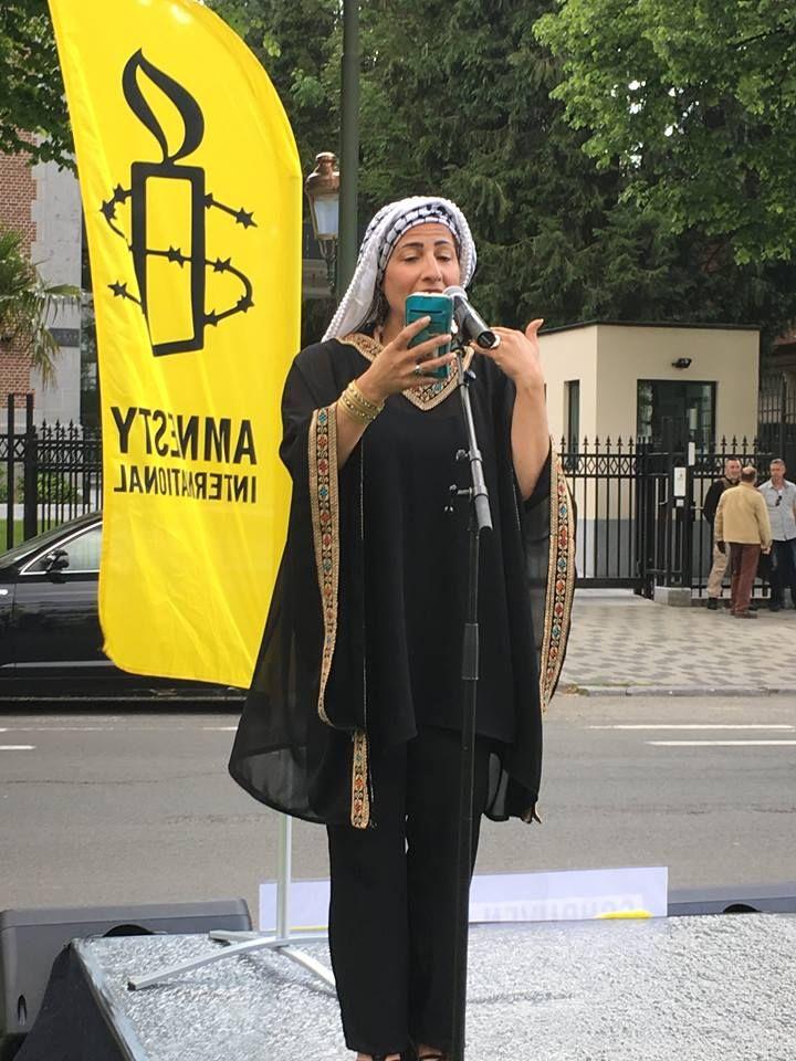 Protestactie 50 woorden versus 50 stokslagen voor de Saoedische ambassade in Brussel