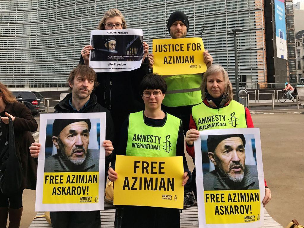 Actie voor Azimjan Askarov tijdens het bezoek van de Kirgizische president aan de Europese instellingen, 16 februari