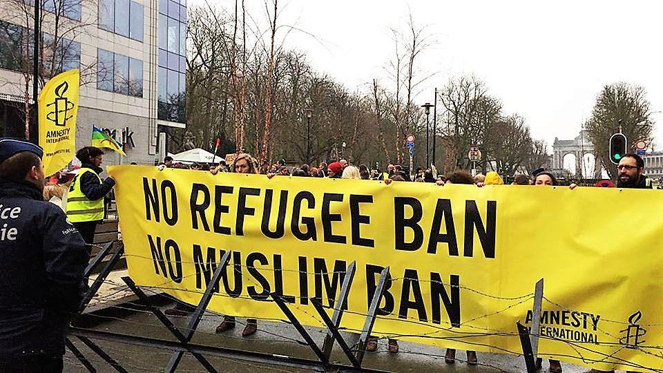 Demonstratie tegen het geplande Amerikaanse inreisverbod – 20 februari